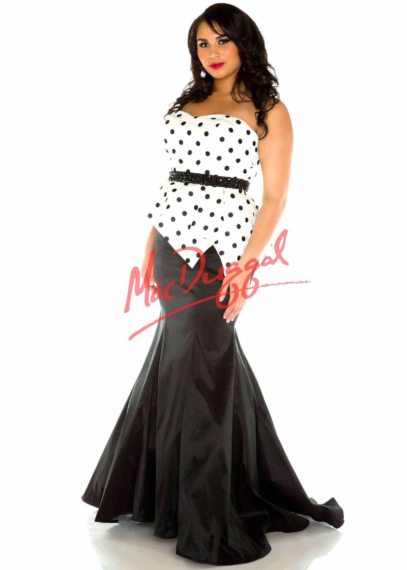 Mac duggal polka dot mermaid plus size prom dresses online
