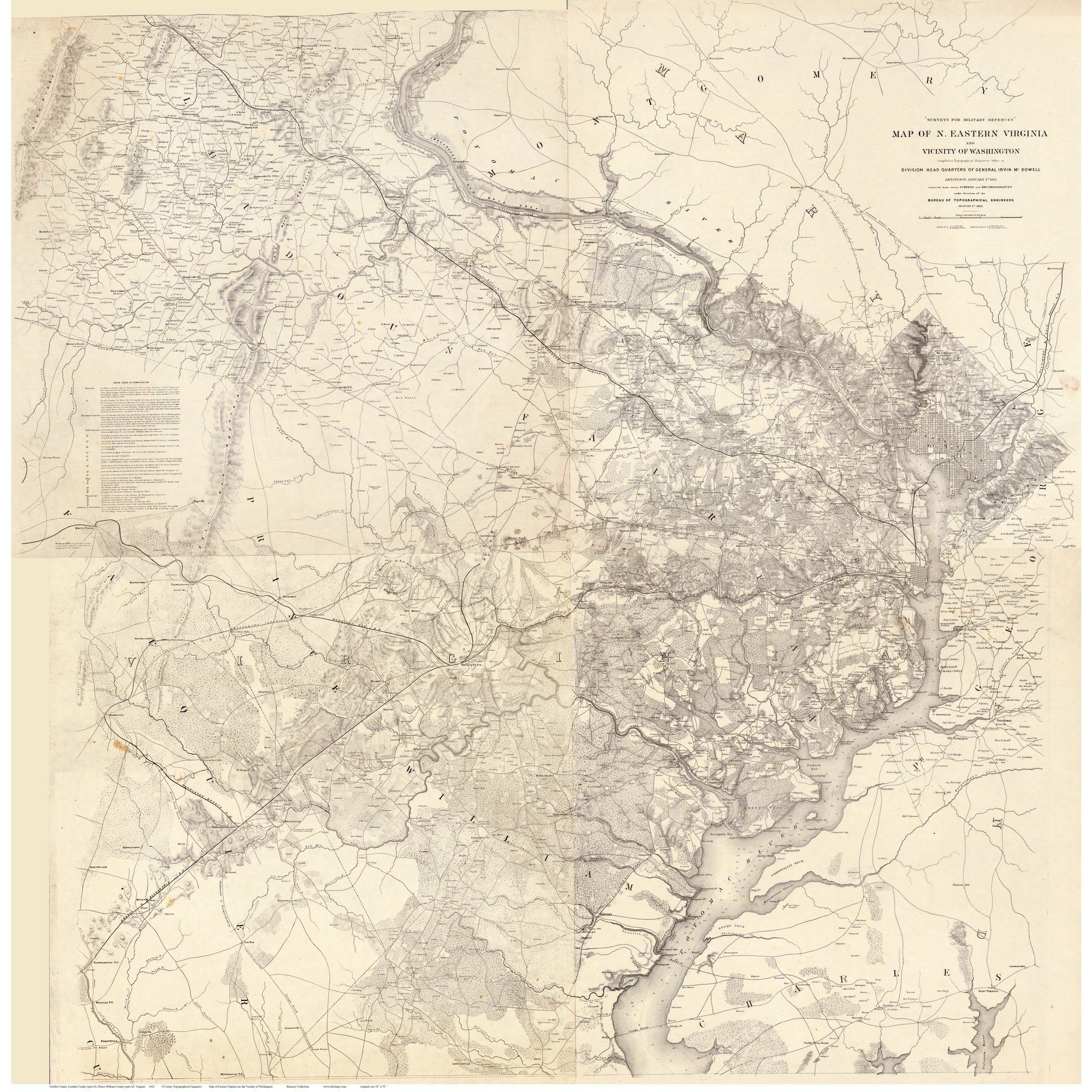 Fairfax, Alexandria, Loudoun etc. Counties, Virginia 1864 - Michler ...