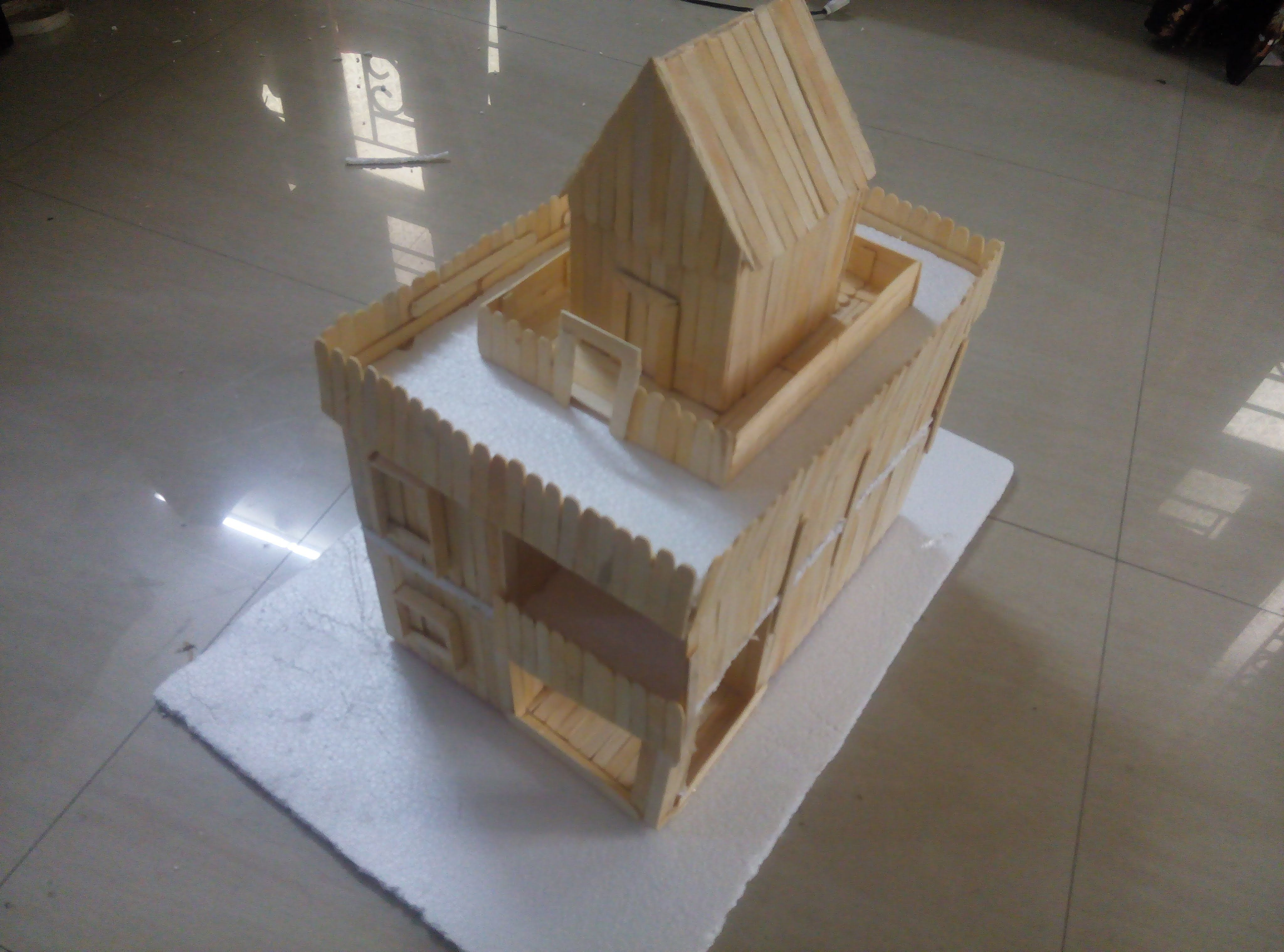 Arts and crafts sticks - How To Make A Duplex House Uisng Popsicle Sticks Ice Cream Sticks We Have Used Glue Gun Glue Sticks And Ice Cream Sticks Popsicle Sticks To Do The Craft