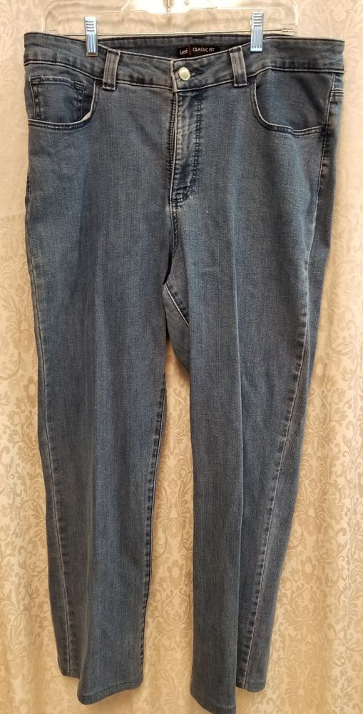 767a0a31484 Lee Women s Classic Fit Blue Jeans Stretch Size 16 Med  Lee  StraightLeg