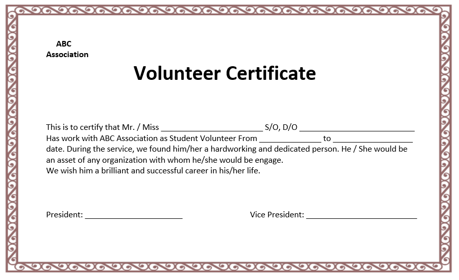 Volunteer Certificate Template  Super Party Ideas