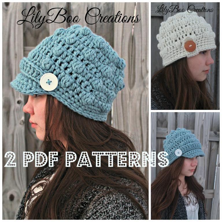 Crochet Newsboy Bobble Hat
