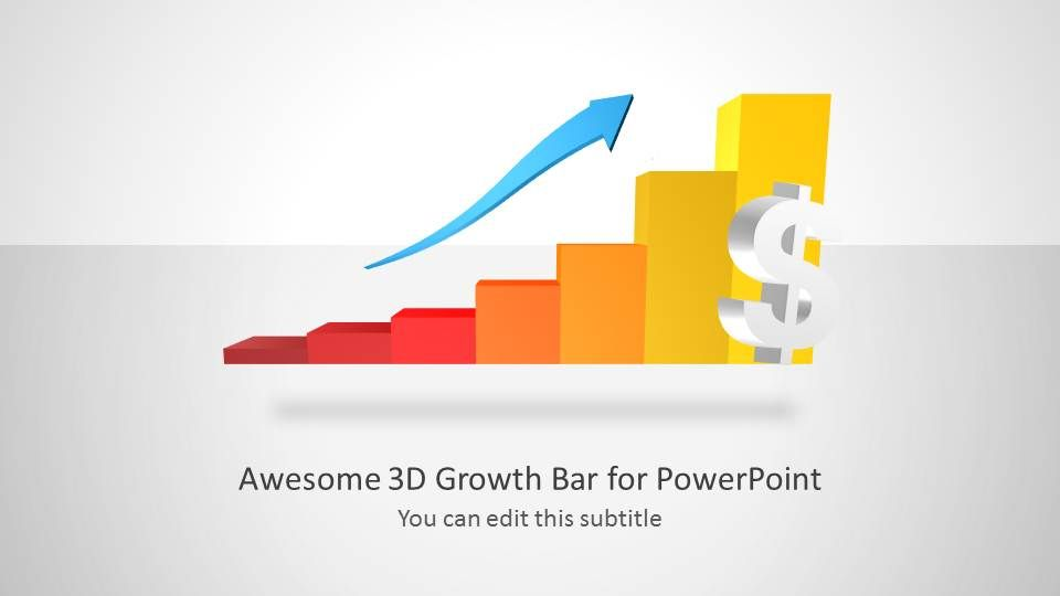 D Growth Bar Chart For Powerpoint  Chart Template And D