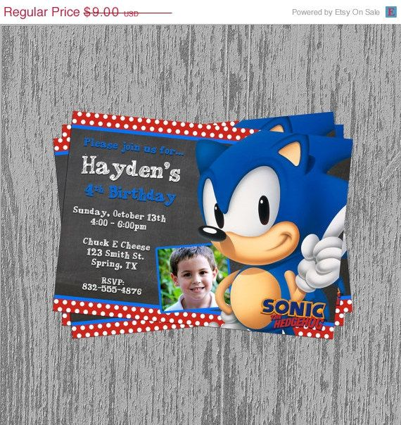 ON SALE Sonic the Hedgehog Custom Birthday Invitation Digital File
