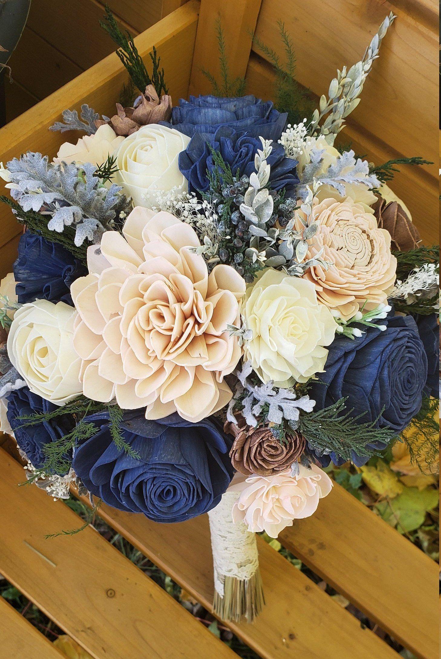 Keepsake Bouquet Wedding Flowers,Bridal Accessories silver dollar eucalyptus Blue Blush sola wood flowers Navy Blush Ivory Sola Bouquet