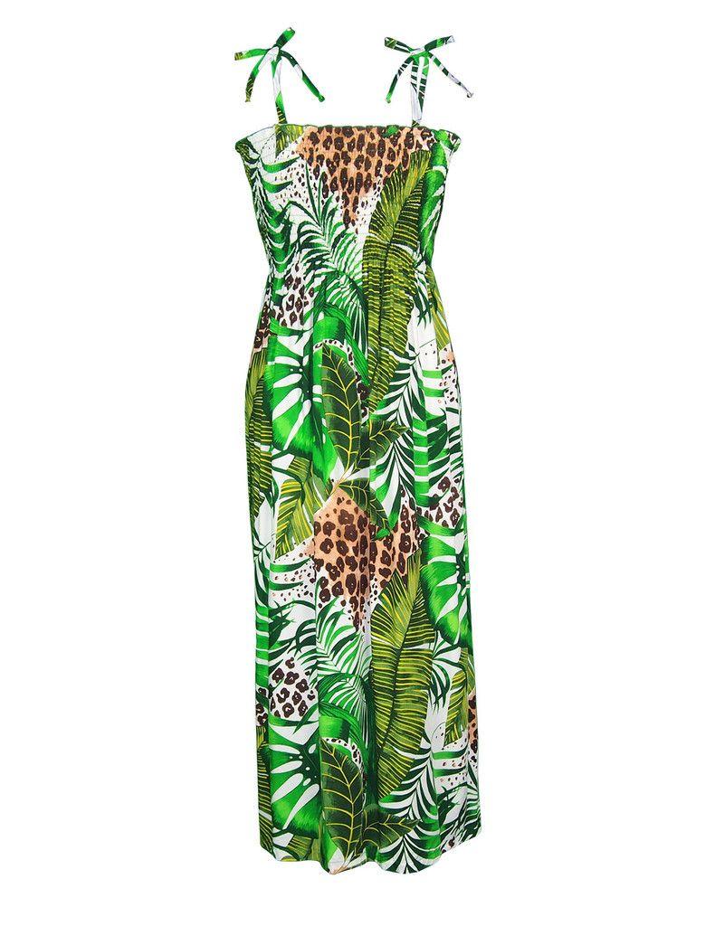 0e51c1d59304 Sexy Leopard Rayon Maxi Green Dress Tube-Top #RJ-W351O-TF | Woman's ...