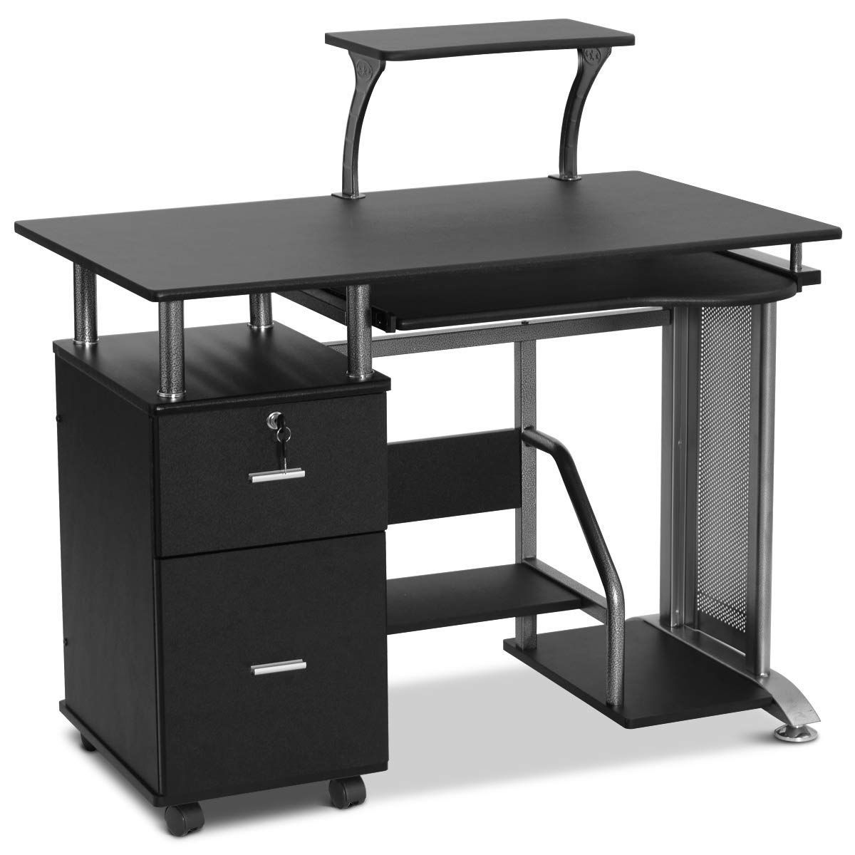 Long Computer Desk With Drawers With Images Black Computer
