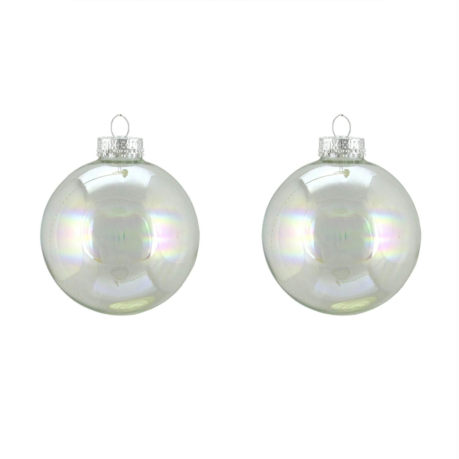 2Ct Clear Iridescent Glass Ball Christmas Ornaments 4 (100Mm)