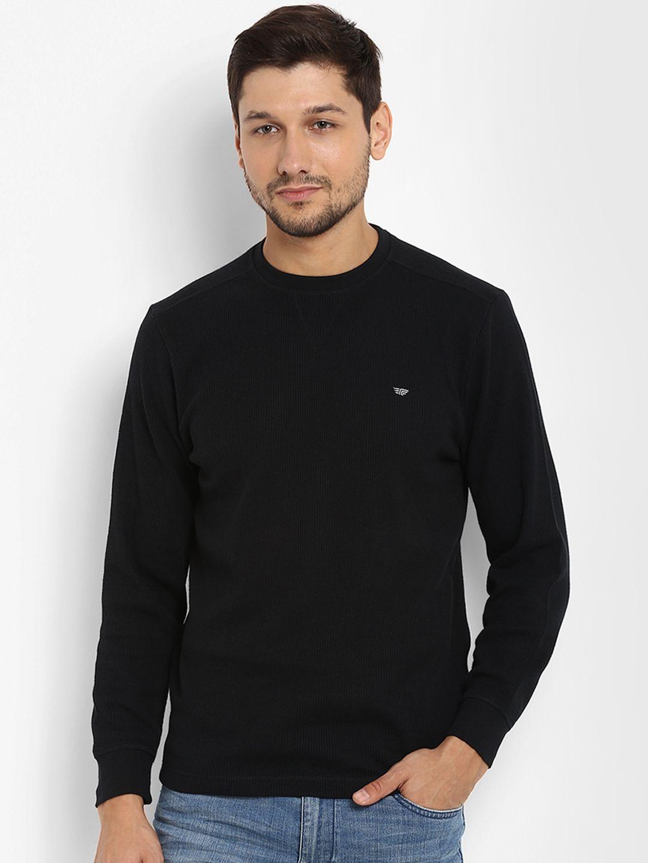 Red Tape Men Black Self Design Round Neck T Shirt 539 Mens