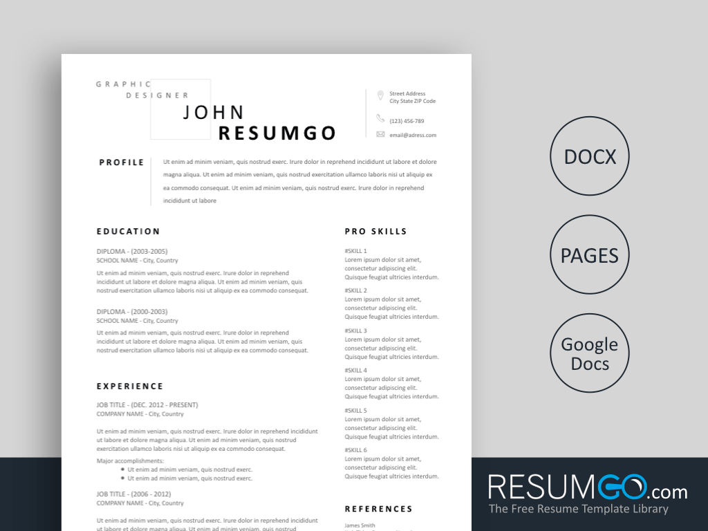 nuik noke Modern Simple Resume Template Free in 2020