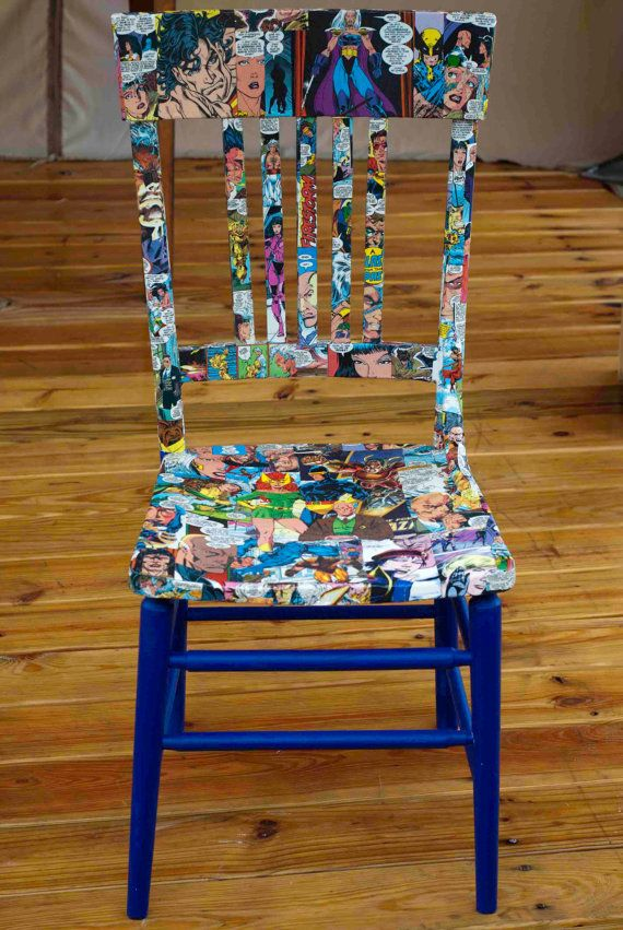 upcycled comic book themed decoupaged chair, super heroes, game room decor ,comic chair, nerdy decor, geekery, marvel, pop art chair, weird