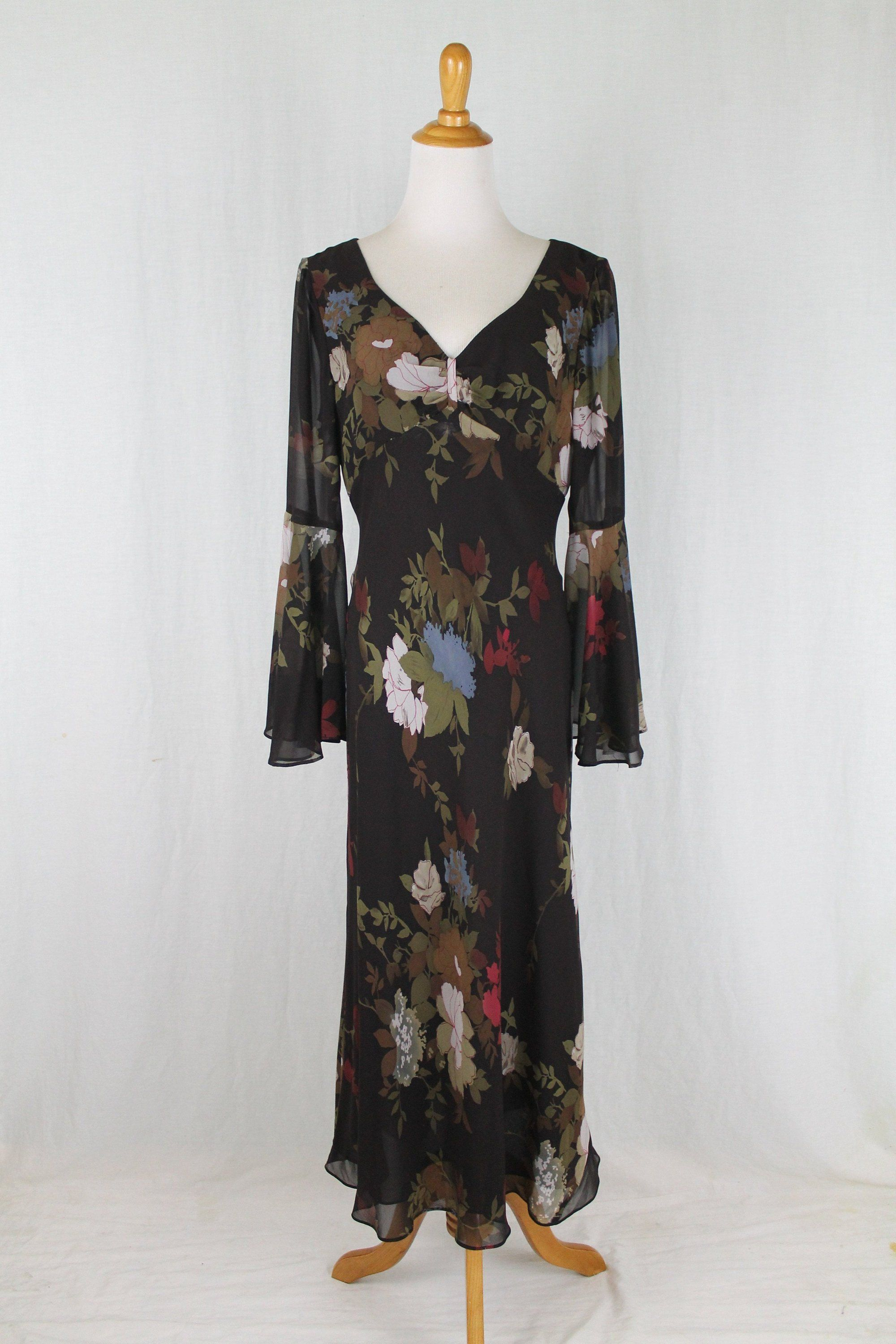 Vintage maggy london us inspired floral silk bias cut bell