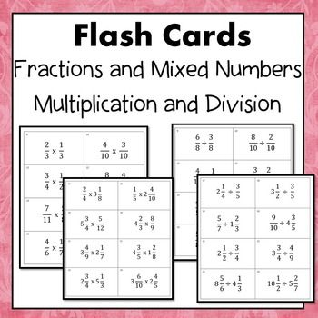 Fractions and Mixed Numbers Multiply and Divide Flash Cards ...