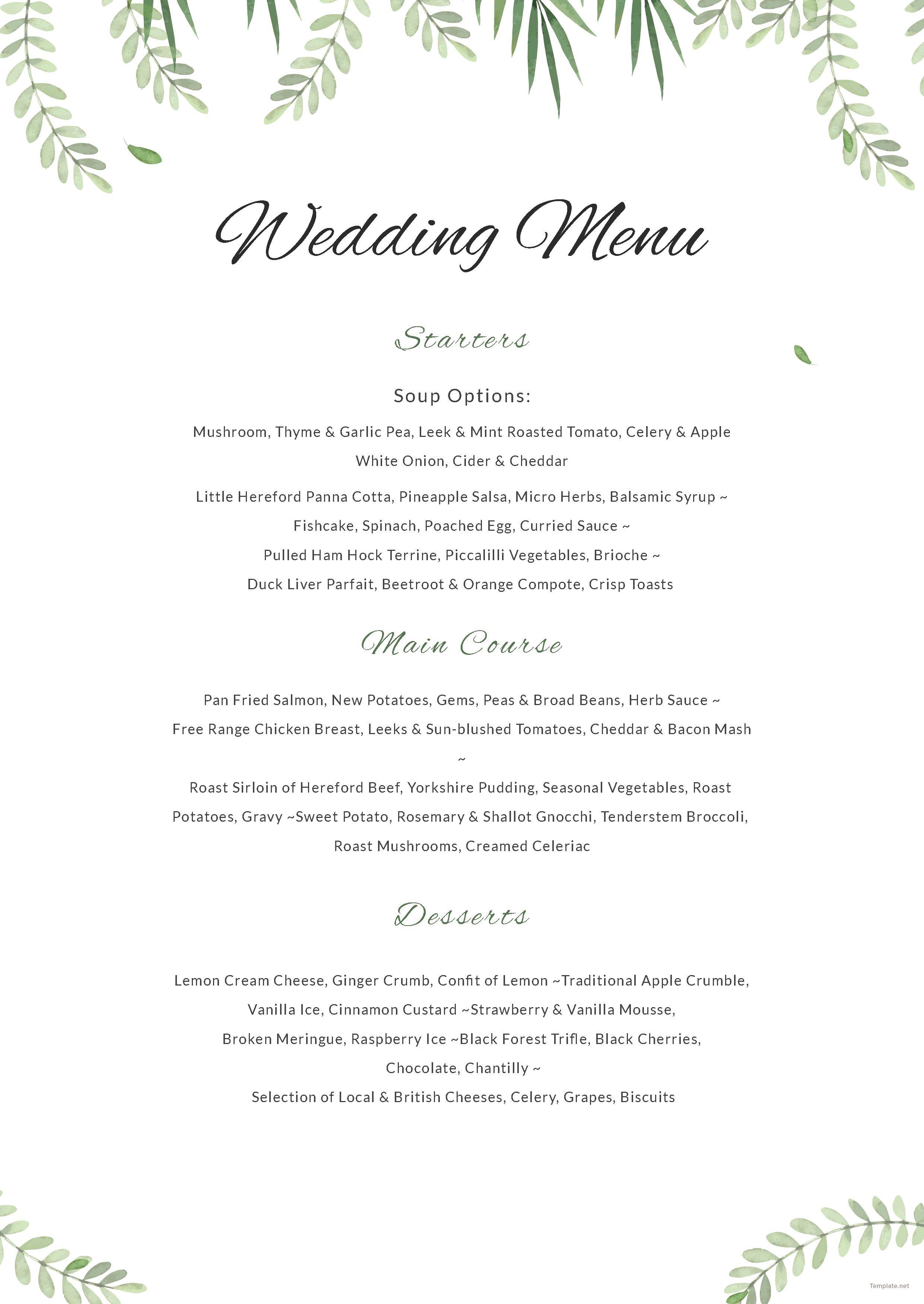 Free Sample Wedding Menu Wedding Menu Template Free