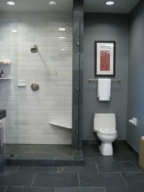 Toilet Next To Shower Next To Vanity M Slate Bathroom Tile Small Bathroom Remodel Grey Flooring