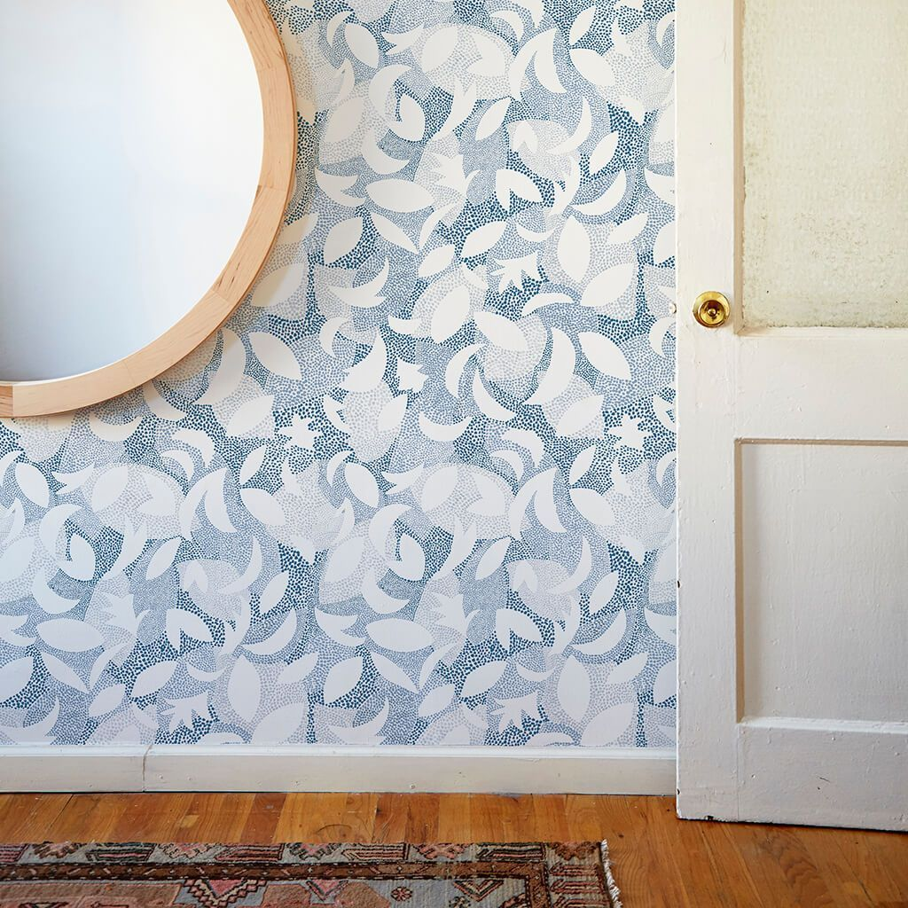 Dotted Leaves Wallpaper in Ocean Blue Leaf wallpaper
