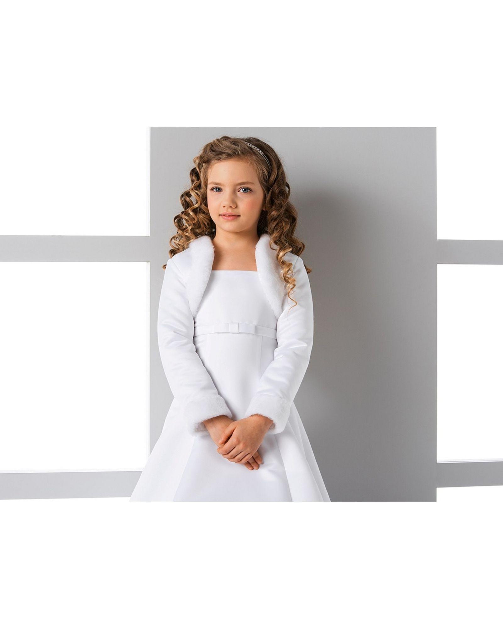 Elegant Children S Flower Girl Communion Faux Fur Bolero With