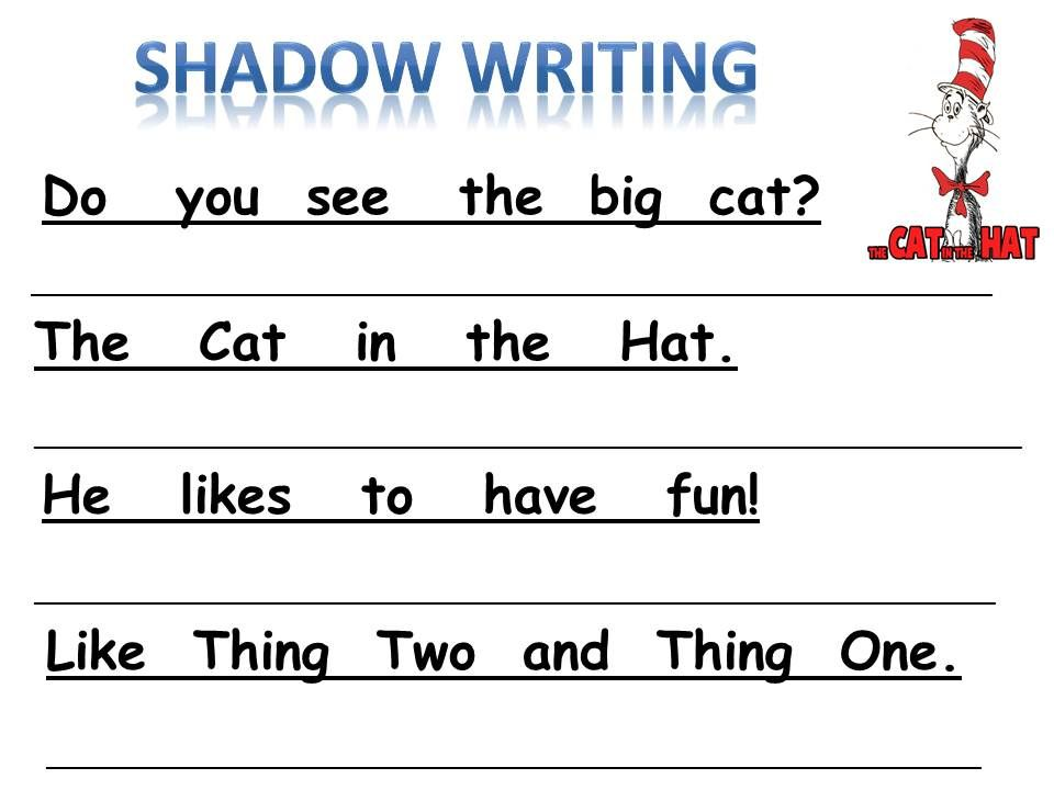 For the Love of Kindergarten Shadow Writing Cat in the Hat – Cat in the Hat Worksheets
