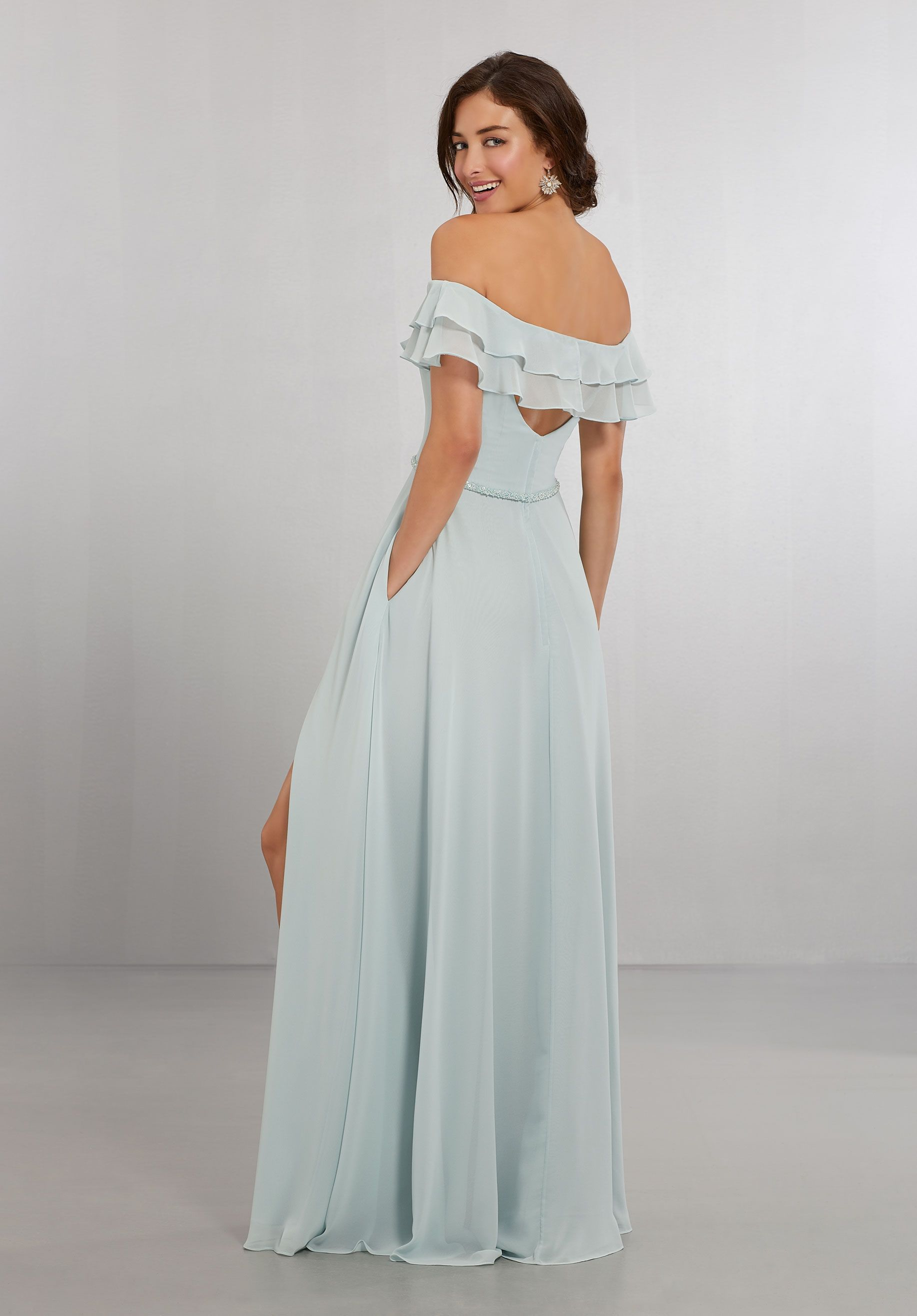 88afd2f7aa2 Chiffon Bridesmaids Dress with Off the Shoulder Flounced Neckline ...