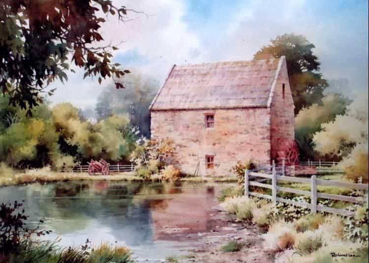 Old mill at bunratty ireland watercolor landscape kids