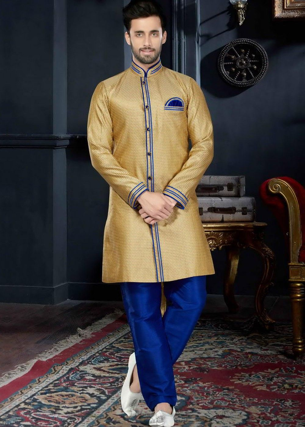 Readymade golden jacquard art silk sherwani in ethnic festiv