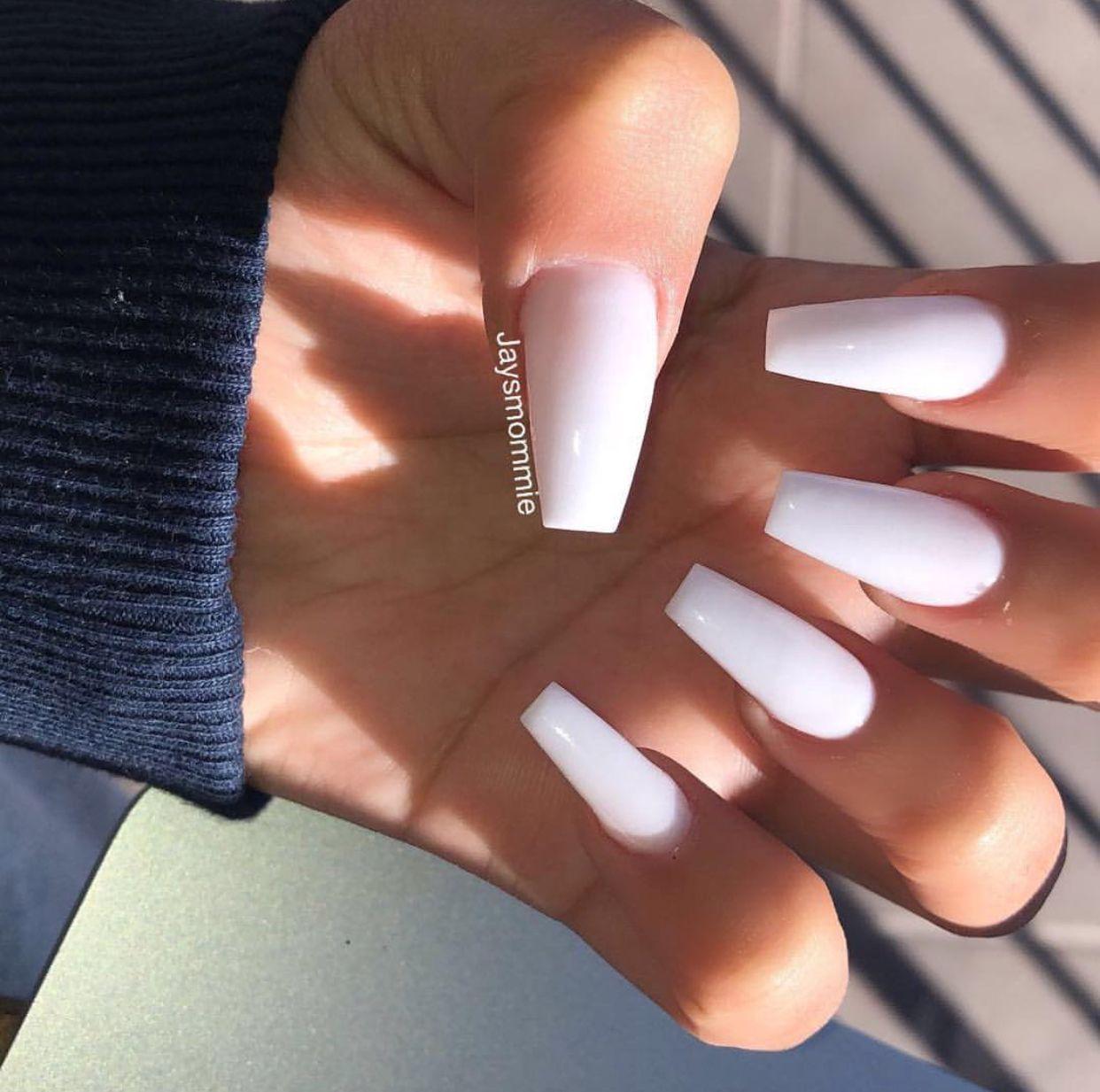 Soft White Glow In The Dark Nails White Acrylic Nails White Gel Nails Acrylic Nail Shapes