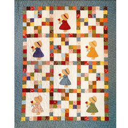 Country Girls Quilt Pattern so cute and great idea for Sunbonnet blocks