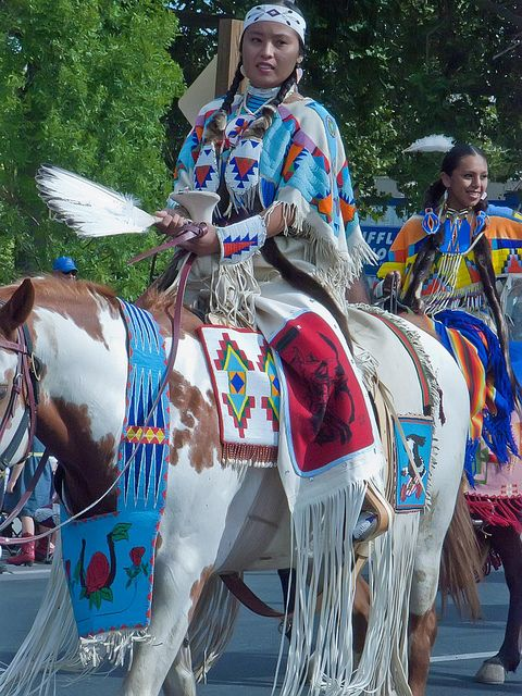 Members of the Cayuse, Umatilla, Nez Perce and Walla Walla tribes are joined by Native Americans from around the Pacific Northwest in the Pendleton Roundup (40), via Flickr.