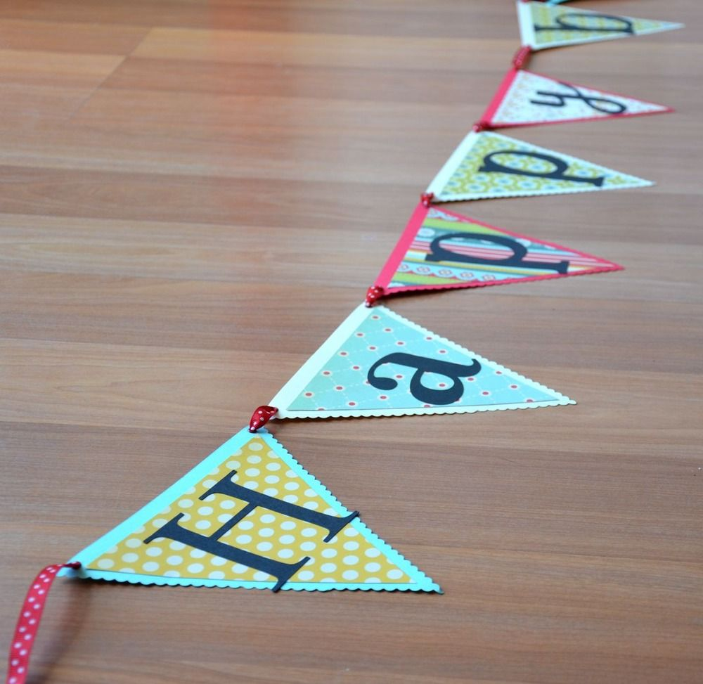 Scrapbook ideas with ribbon - Happy Birthday Banner Use Scrapbook Paper And Thread Ribbon Through Holes Punched In The Corners
