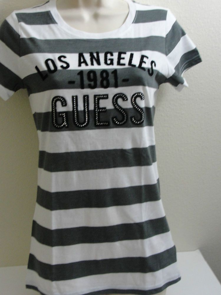 GUESS PERI STRIPE TOP T-SHIRT OBERTEIL GRAU WEISS GLITZER 38 M in Kleidung & Accessoires, Damenmode, T-Shirts | eBay