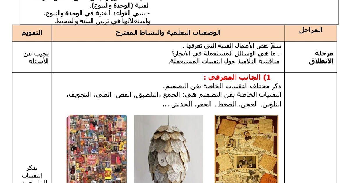 مذكرات مادة التربية التشكيلية الاسبوع 24 المقطع 3 تقنيات فن التصميم الجمع و التلصيق السنة الرابعة ابتدائي الجيل الثاني Design Art Design Memorandum