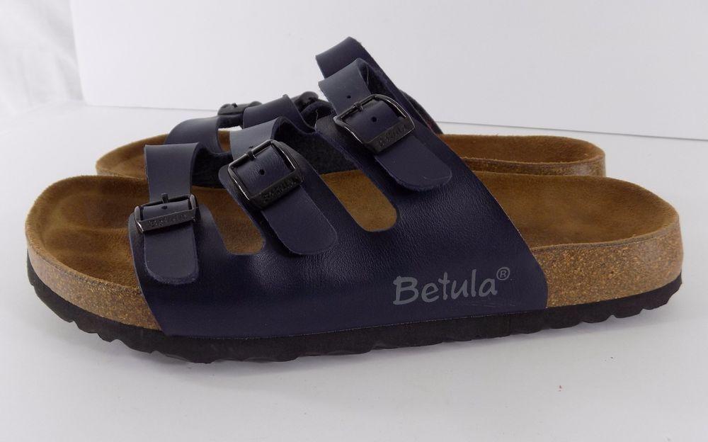 Birkenstock Betula Florida Navy Blue 3 Strap Slide Sandals