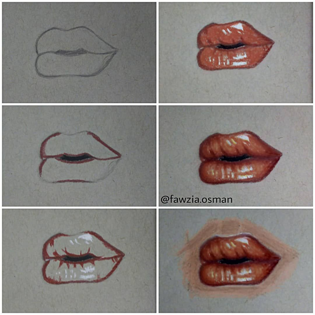 Steps To Draw Lips On Gray Or Tan Paper By Me Fawzia Osman Art Drawing Draw Drawingsteps Lips Artist Artwo Lips Drawing Drawings Art Lessons