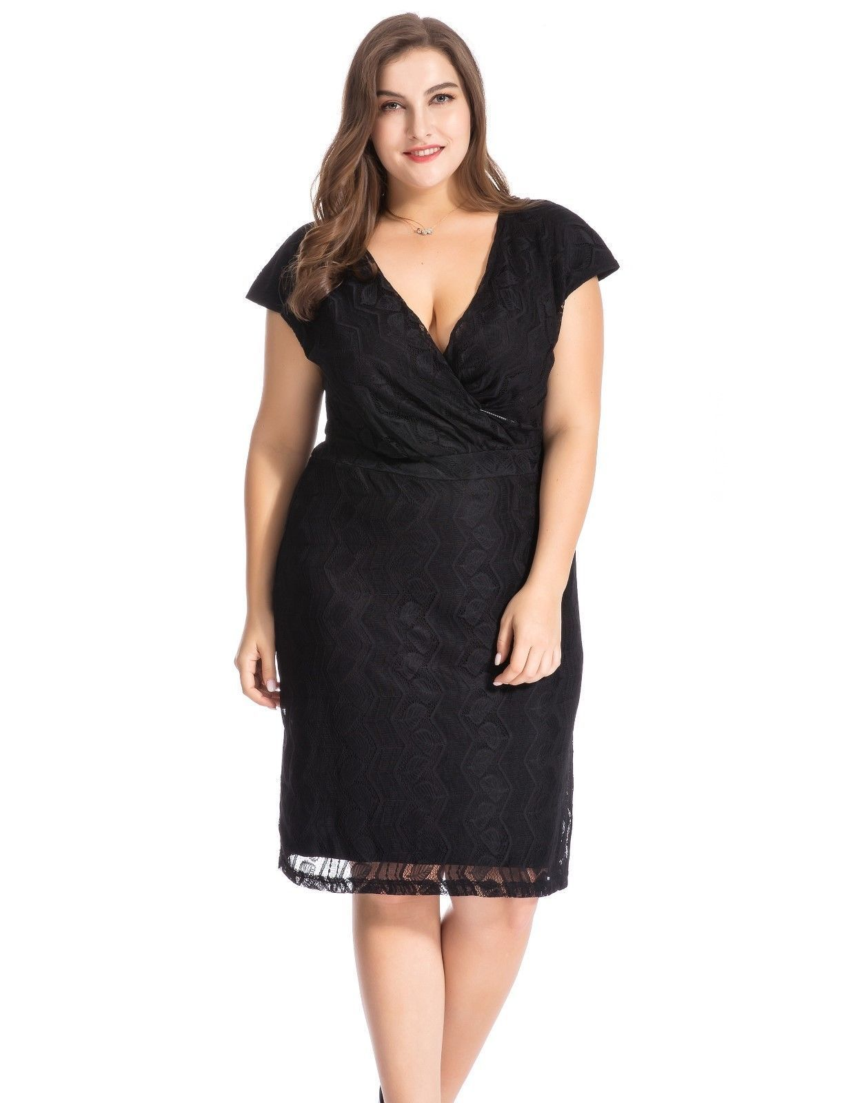 1dddcab735f Chicwe Women s Lined Luxury Lace Plus Size Dress With Cross-Over V Neck Size