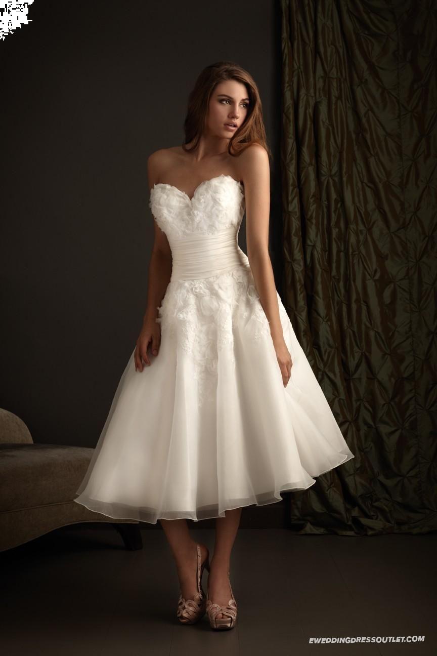 Organza sweetheart fitted bodice tealength beach wedding dress