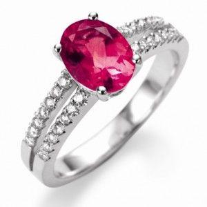 Bague rubis et diamant or blanc