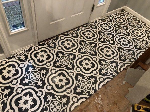 Black And White Cement Tile From Lowes In Entryway How To