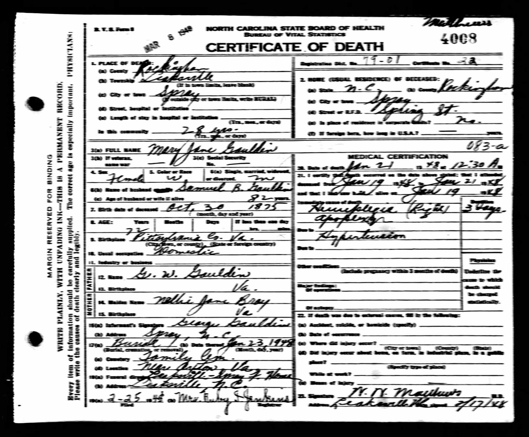 North Carolina Death Certificates 1909 1976 Rip Pinterest