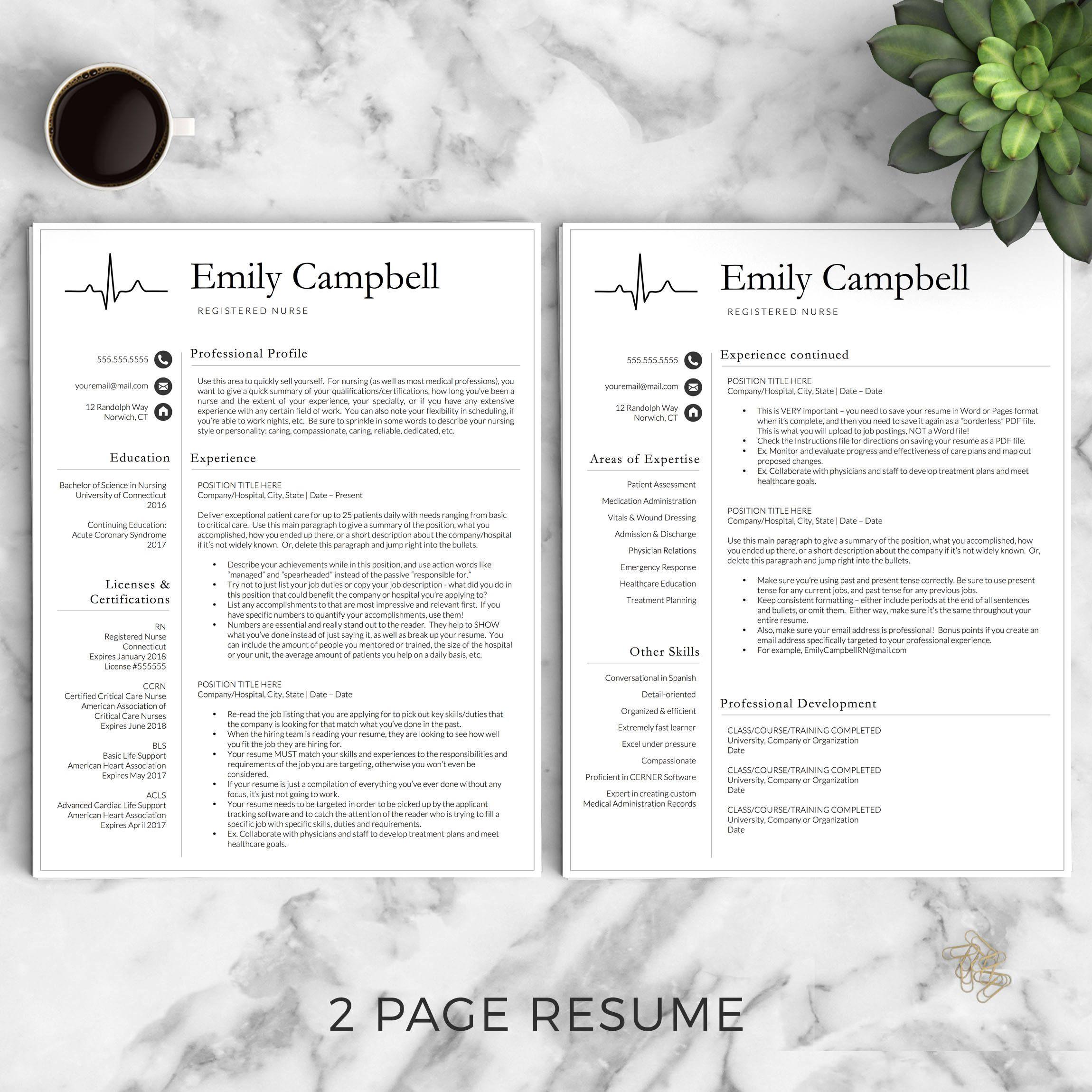 Nursing Resume Template / CV For Nursing Student, Nurse