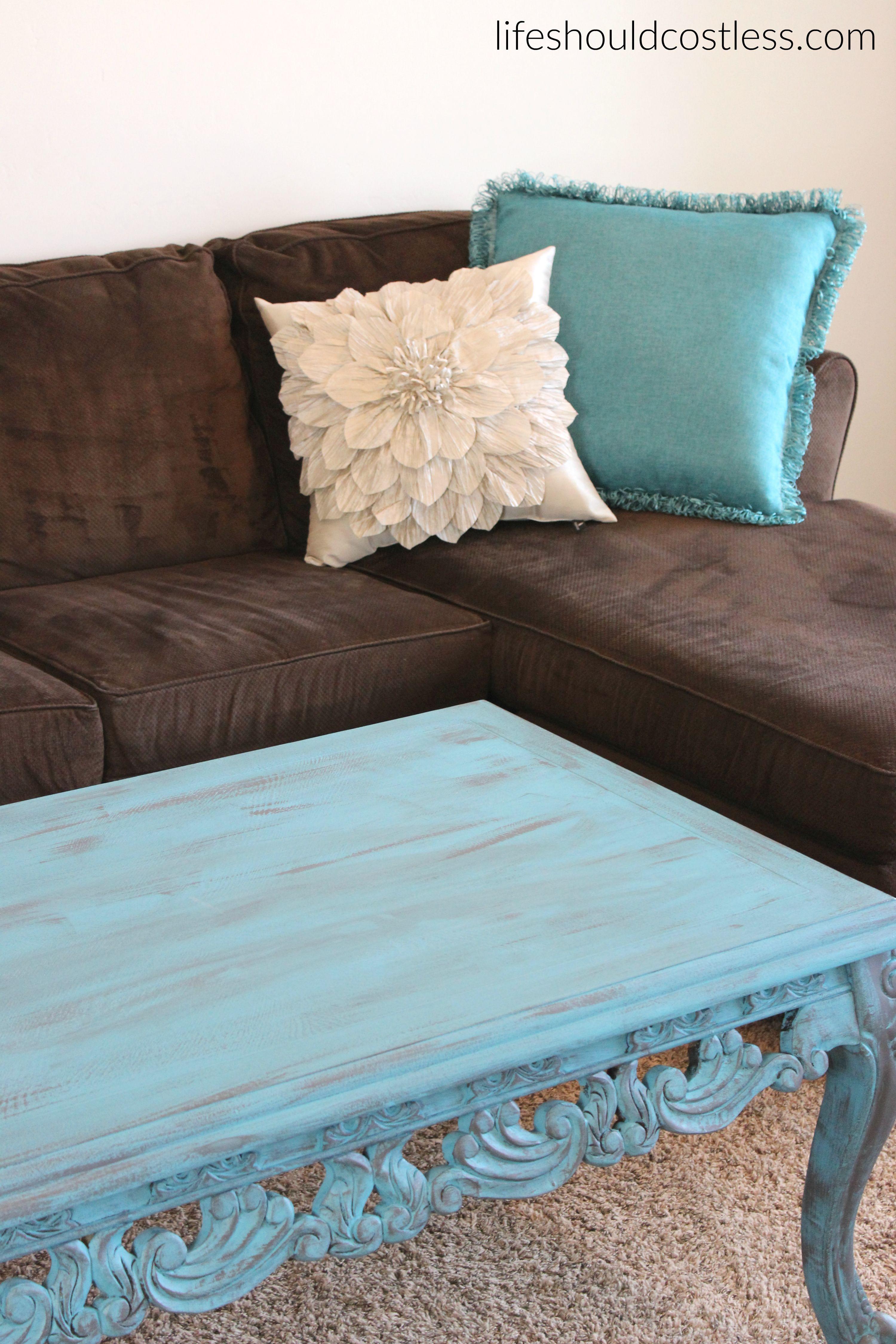 Turquoise Coffee Table Make Over In Americana Decor Treasure