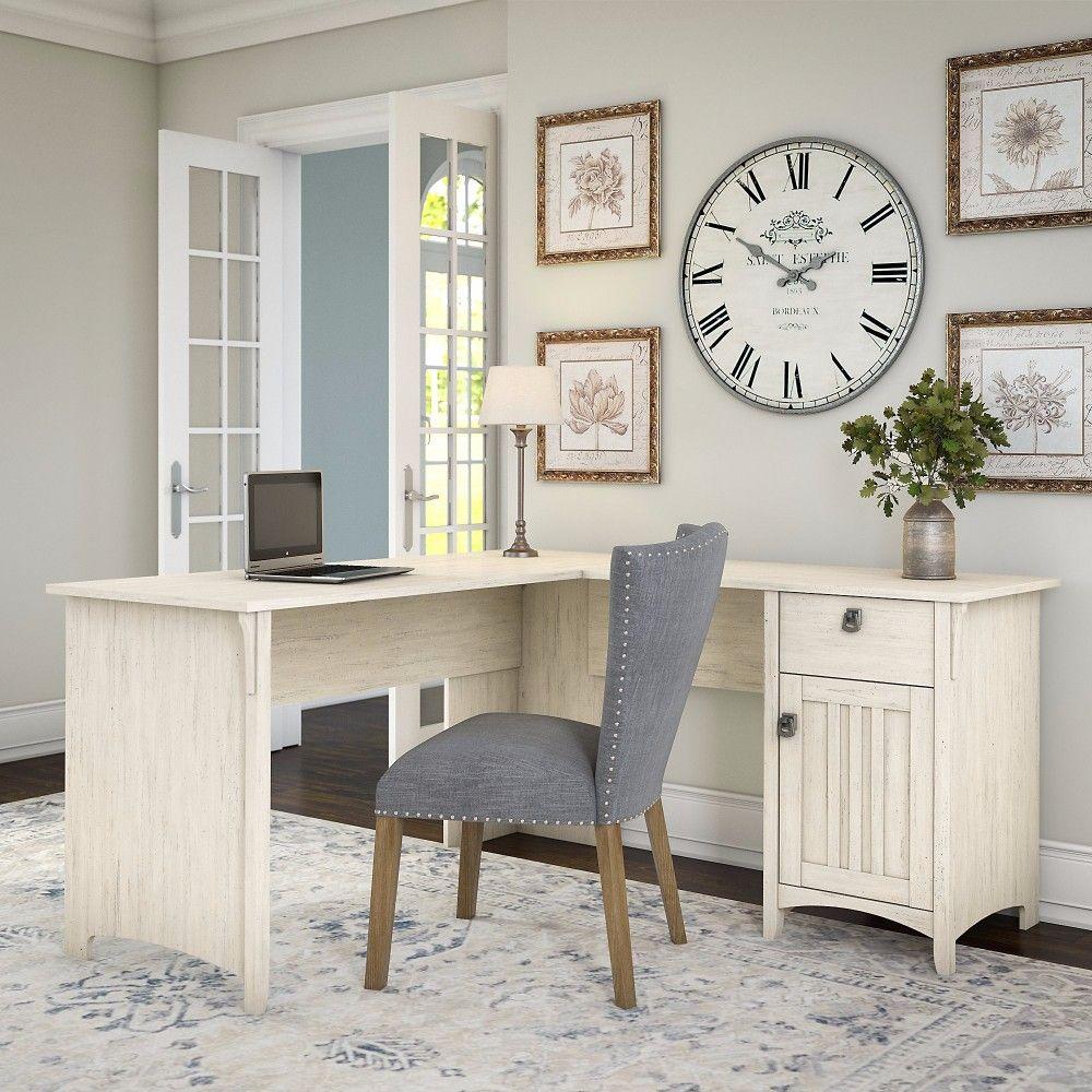 Bush Furniture Sad160aw 03 Salinas L Shaped Desk W Storage In Antique White In 2020 L Shaped Corner Desk Home Office Design L Shaped Desk
