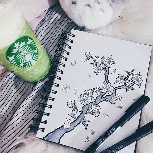 I hope I get to see some cherry blossoms this spring  #drawing #illustration #lineart #totoro #cherryblossom #greentea #matcha #starbucks #instaart #art #artoftheday #pen #drawings #illustrator #春 #スタバ #photooftheday #cute #pink #aesthetic