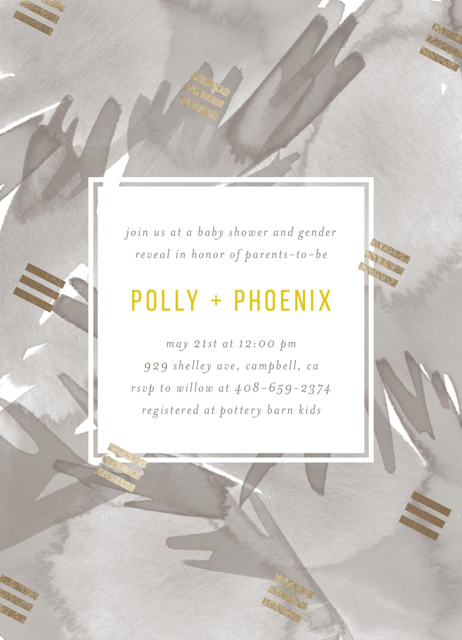 Bohemian gray watercolor and gold foil baby shower invite design