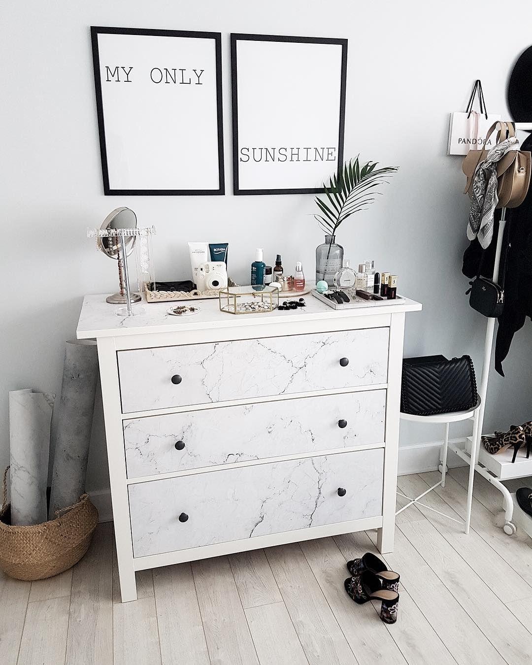 Diy Ikea Hemnes Dresser Makover With Self Adhesive Marble