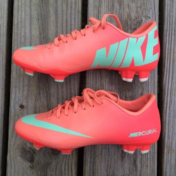 Atomic Pink Mint Nike Mercurial Soccer Cleats Shoe ONE -RARE Pair of Atomic  Pink Mint Nike Brand Lace Up Mercurial Soccer Cleats   Athletic Sneakers    Shoes ... 76fdfd148e9e0