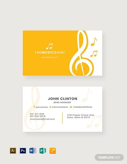 Music Band Business Card is part of Business card design simple, Music business cards, Business card template design, Cute business cards, Name card design, Business card template - Instantly Download Music Band Business Card Template, Sample & Example in Microsoft Word (DOC), Adobe Photoshop (PSD), Apple Pages, Microsoft Publisher, Adobe Illustrator (AI) Format  Available in 3 5x2 inches + Bleed  Quickly Customize  Easily Editable & Printable