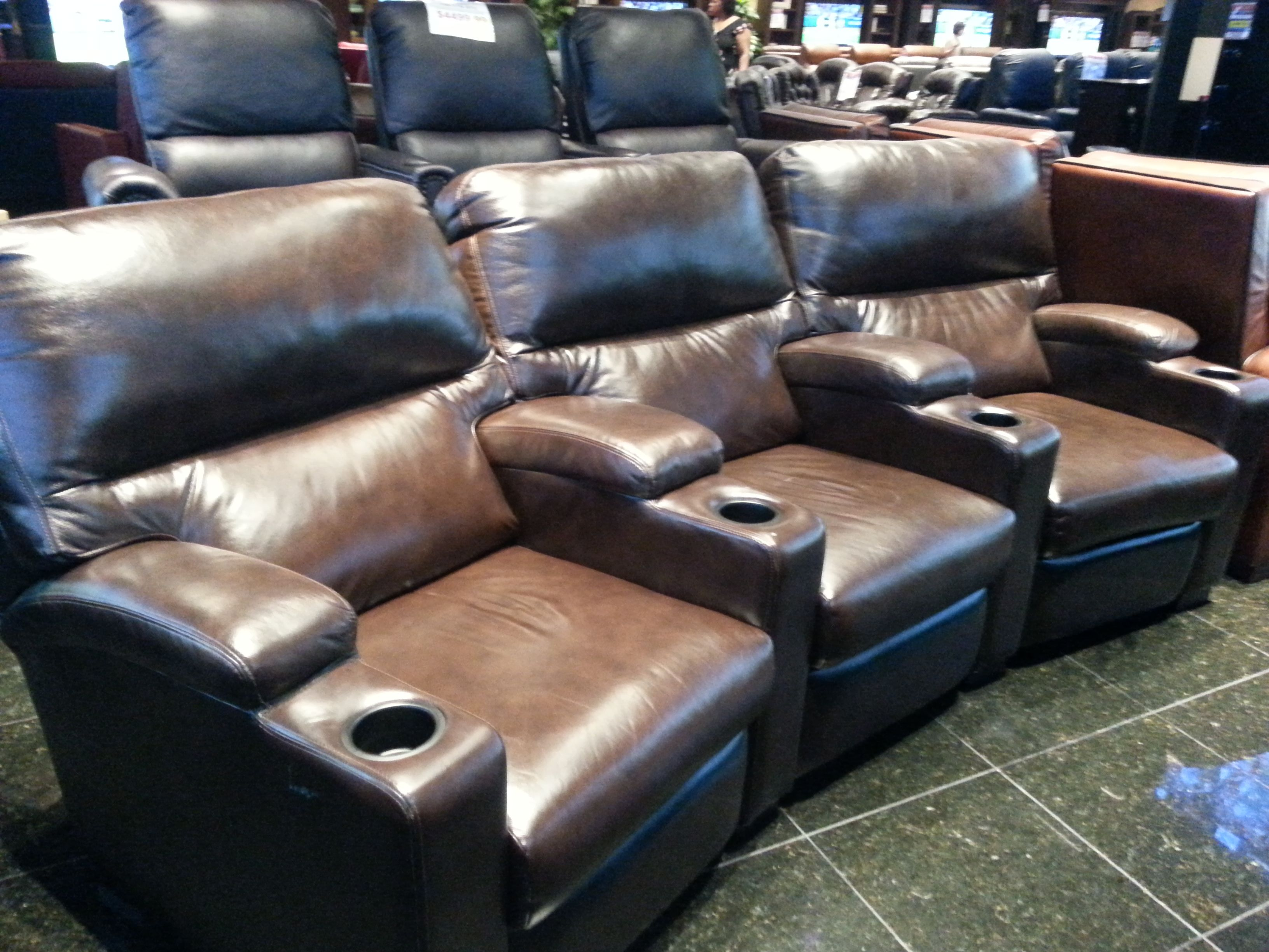 Upgrade Your Home Theater Room With Our Beautiful Leather Seating Equipped Cup Holders And Soft Back Seat Cushions You Will Be A
