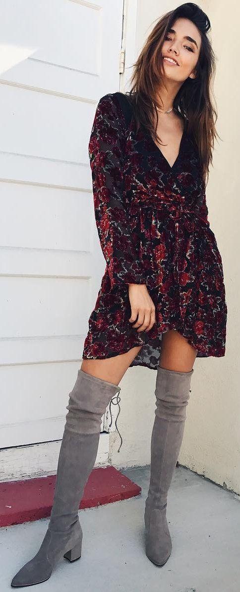 Red Printed Dress + Grey OTK Boots