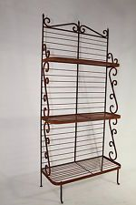 Wrought Iron Heavy Forged Bakers Rack Kitchen Decor Patio Plant Stand