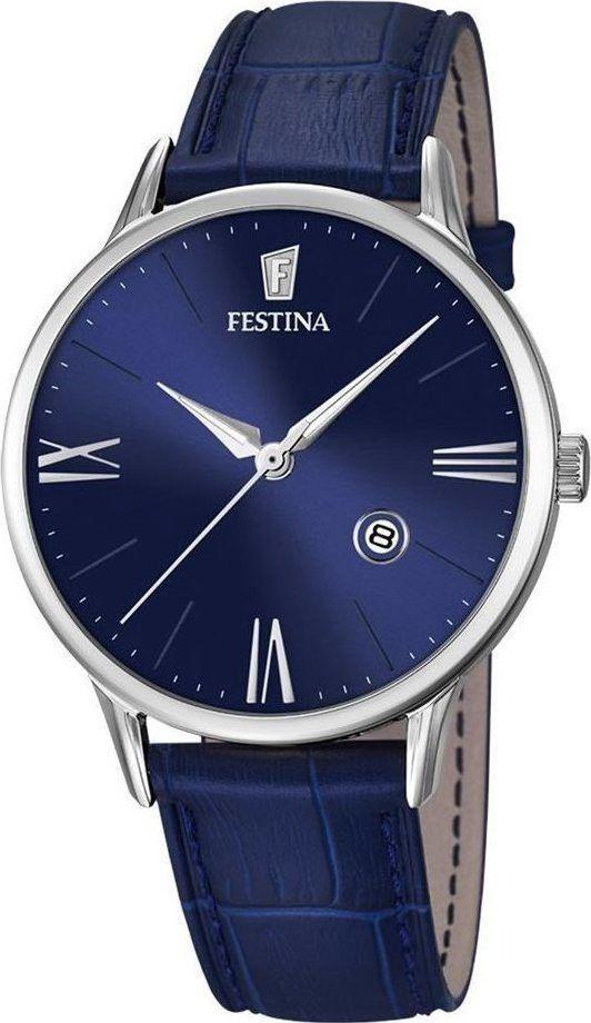 Festina F16824/3 Men's Watch Classic Blue Dial Blue Leather Strap